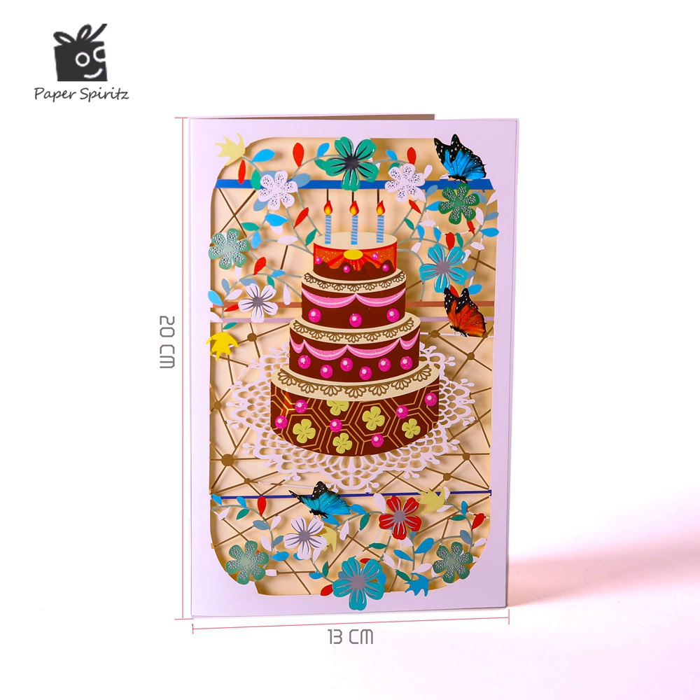 Handmade Birthday Cards Wishes Messages Greeting Gift Cards Postcards Vintage Laser Cut Pop Up Cake