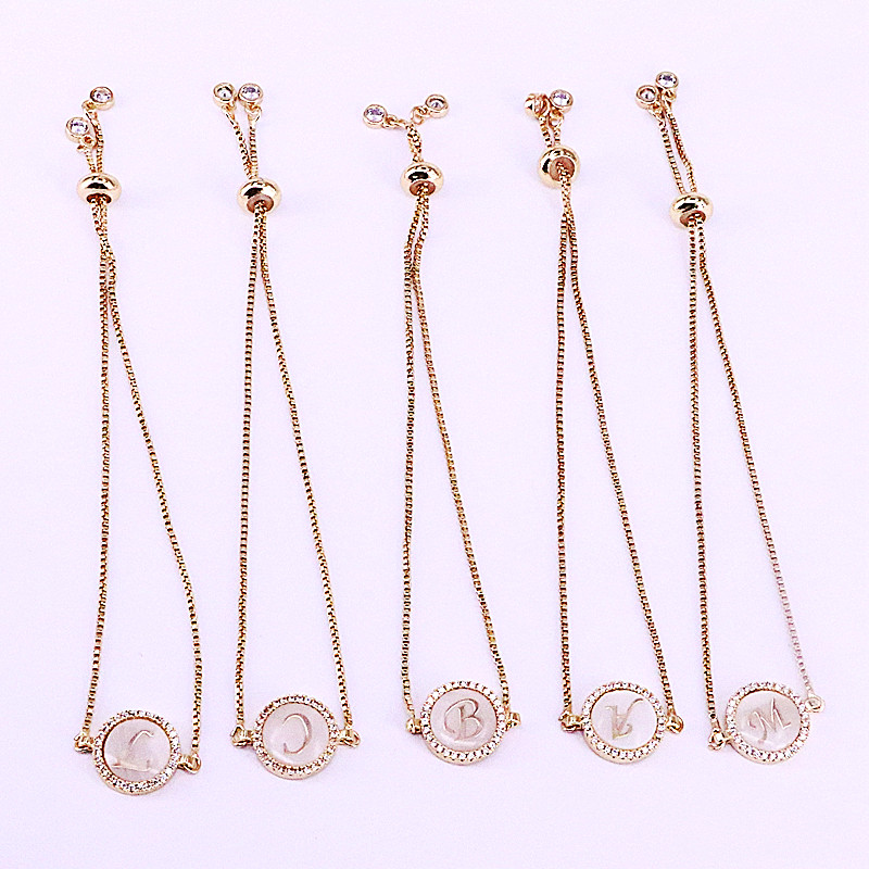 12Pcs Silver Gold Color Round Micro Pave Cubic Zirconia Shell 26 Letter Charm Connector Bracelets