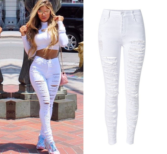 78f429f52fb87 Hot Style Women High Waist White Denim Pants Woman Pencil Popular Street  Stylish Personality Plus Size Ripped Holes Skinny Jeans