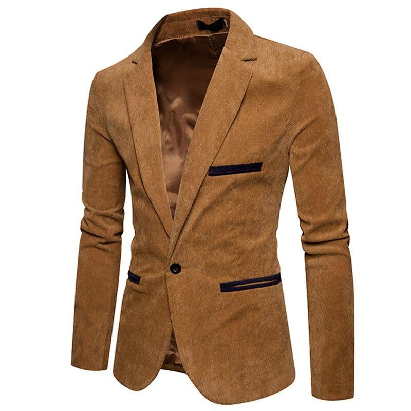 New Fashion Casual Men Blazer Corduroy Patchwork Mens Business One Button Slim Fit Masculino Male Suits Jacket Blazers M-XXXL