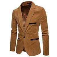 New Fashion Casual Men Blazer Corduroy Patchwork Mens Business One Button Slim Fit Masculino Male Suits Jacket Blazers M XXXL