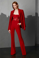 Luxury Celebrity Red Long Sleeve Warm Coat Rompers Jumpsuit 2 Pieces Winter Women Sets