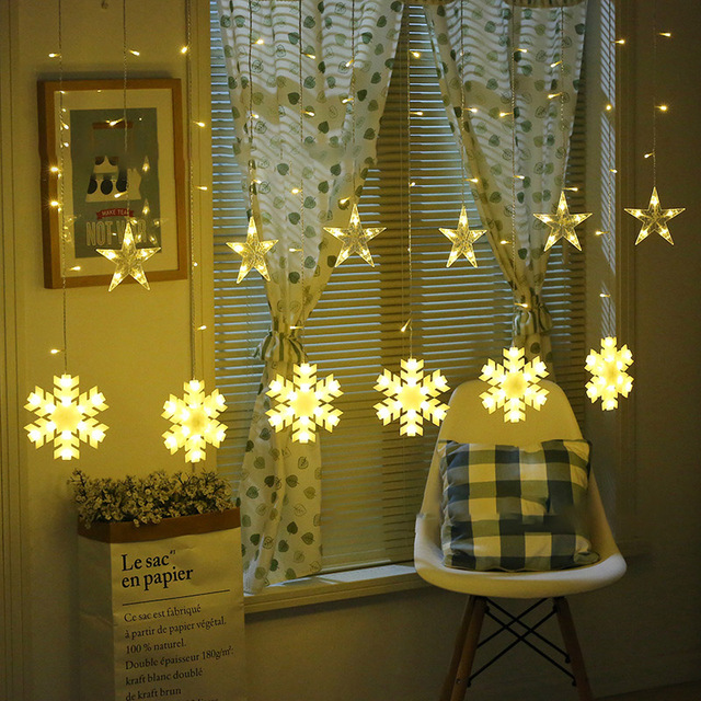 2.5M 138LEDS Christmas Star and snowflake Curtain Lights Indoor Wedding Fairy Lights For Holiday Wedding Party  Decoration