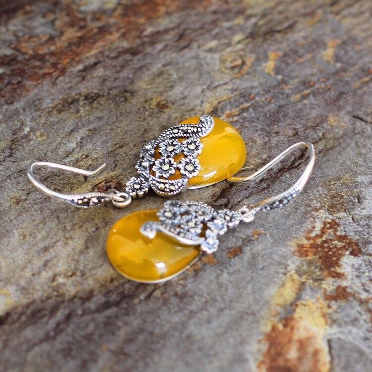 KJJEAXCMY Fine Jewelry S925 Silver Yellow Agate Earrings Archaize Fashion Silver Ear Tag New Lady