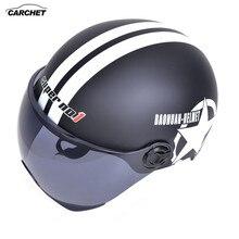 CARCHET Casco Moto D'epoca Open Viso 56-60 centimetri Moto Casco Casco Cross Unisex Off Road Motocross Feminino per Harley caschi