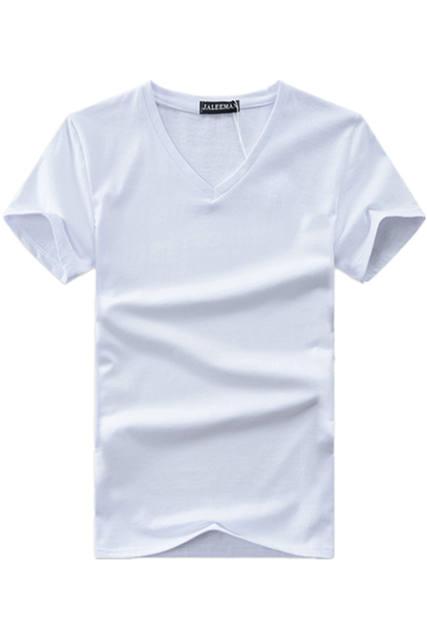 Hot 2017 new summer men V neck t shirt cotton letter Solid color t-shirt short sleeve brand t shirt for men Asian plus size 5xl