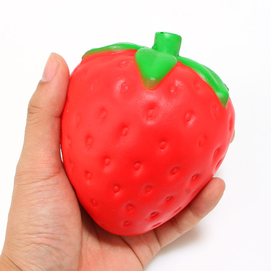 New Arrived 12CM Jumbo Strawberry Squishy Super Slow Rising Sweet Scented Phone Strap - us196