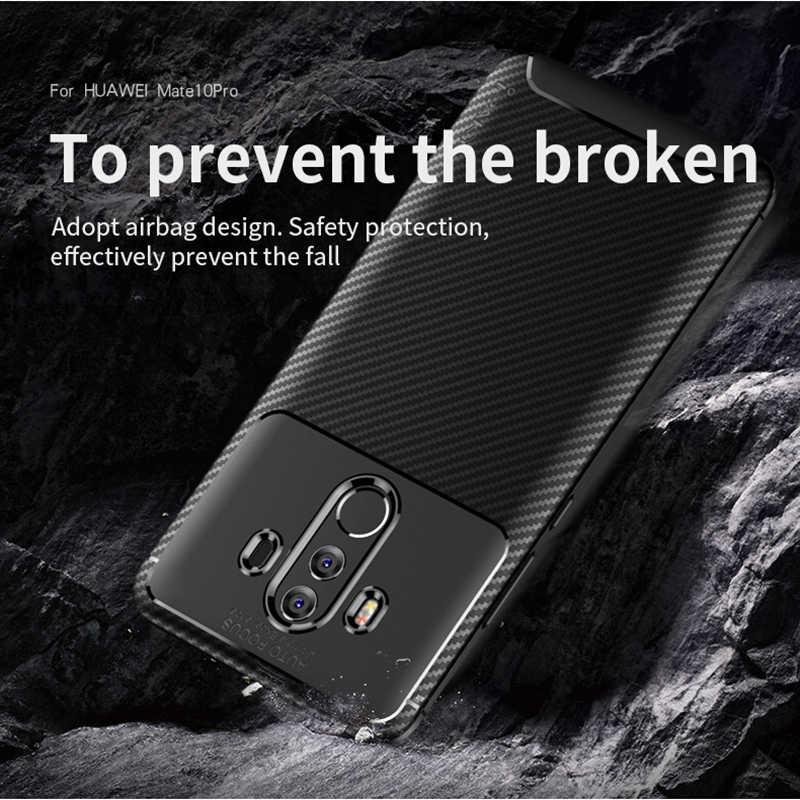 สำหรับ Huawei Mate 10 Case IPAKY สำหรับ Mate 10 Pro กรณีซิลิโคน TPU คาร์บอนไฟเบอร์ Hybrid เกราะกันกระแทกสำหรับ mate 10 Pro Case