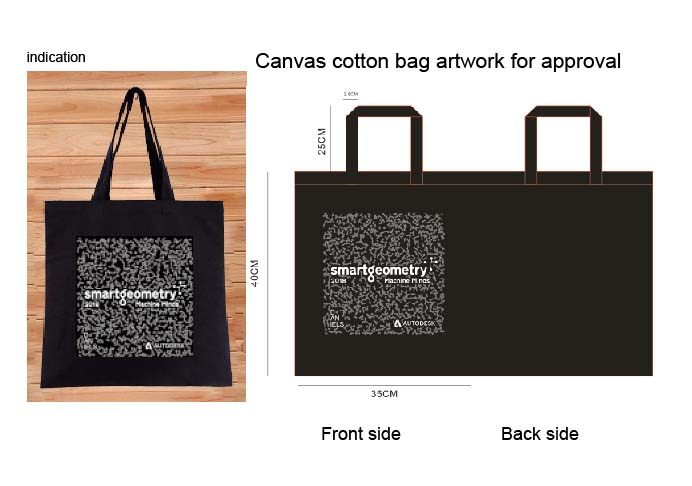 100Pcs Black 35Cm*40Cm Height No Zipper 10A Canvas Cotton Tote Bag Customized Logo Company Advertising Activity