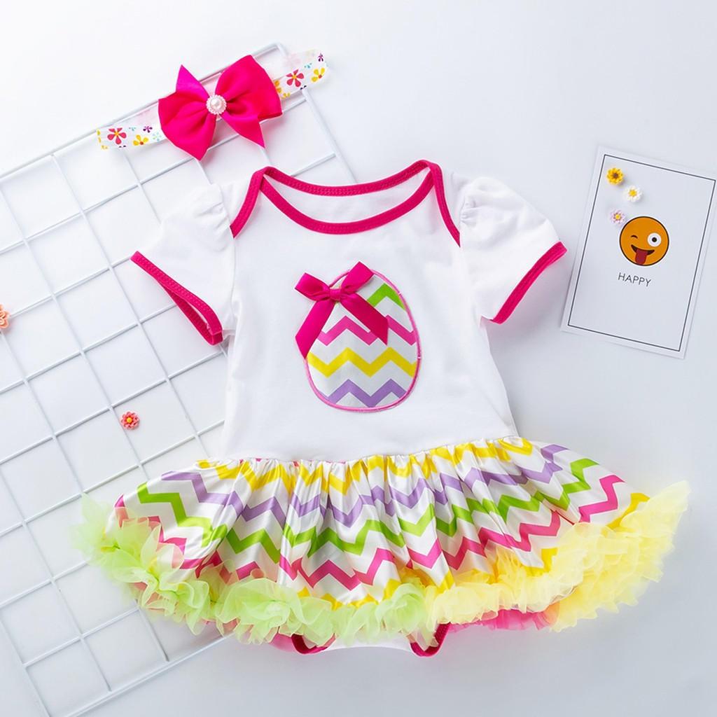 4PCS Newborn Baby Girls Princess Easter Eggs Letter Print Tutu Dress Outfits Set