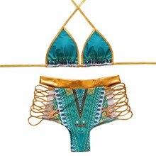 Sexy Micro Bikinis Women Bikini 2017 Swimsuit Low Waist Bathing Suit Push Up Swimming Suit Beach Swimwear Set Tassel Print Blue