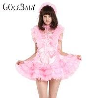 Sissy Girl Maid Sleeveless Satin Puffy Pink Dress Unfiorm Cressdress Crossdress Cosplay Costume