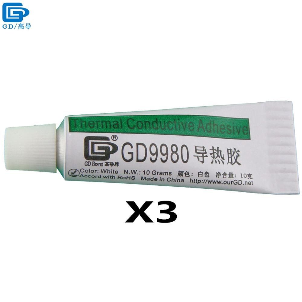 GD9980 Thermally Conductive Adhesive Cement Glue Heat Sink Plaster Silicone 3 Pieces Net Weight 10 Grams White For LED VGA ST10 gd brand thermal conductive grease paste silicone plaster gd460 heat sink compound net weight 1000 grams silver for led cn1000