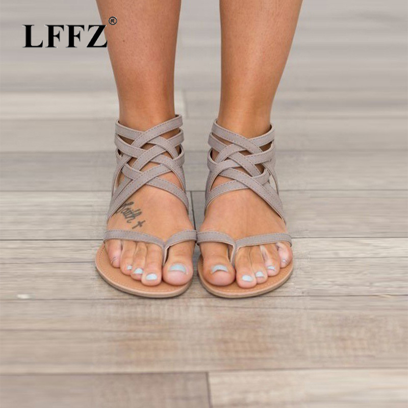 Lzzf Women's Sandals Plus Size 35-43 Woman Flats Summer Shoes 2018 New Fashion Casual Shoes for Woman European Gladiator Sandals summer tassel sandals fashion rivet gladiator sandals women flats big size hollow shoes woman casual sandal free shipping