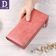 Купить с кэшбэком DIDE 2019 Long Wallet Women Genuine Leather Wallet Clutch Female Purse Designer Luxury Long Wallet Women Wallets