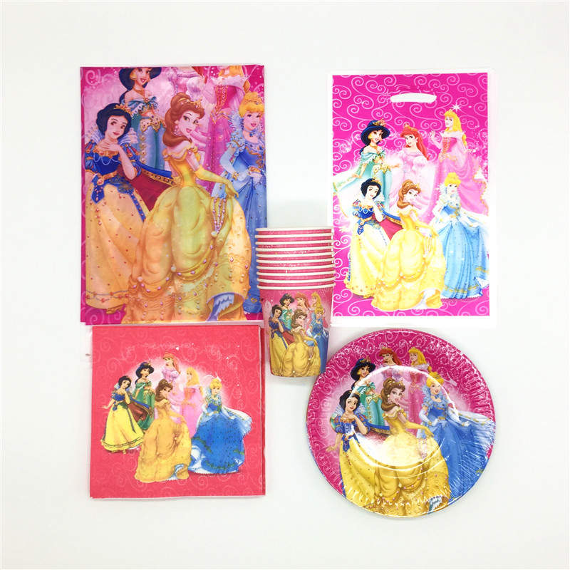 81Pcs/Lot Disney Six Princess Ariel Theme Design Plate Kid Favors Paper Cup Gift Bags Chidren Birthday Party Decoration Supply