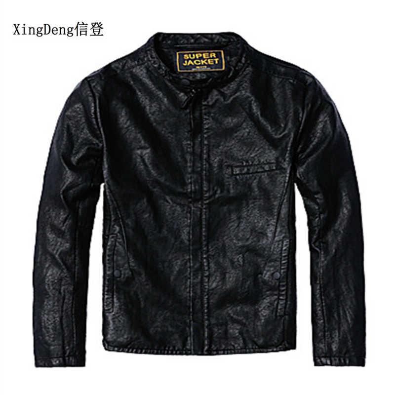 dce8193c86f XingDeng брендовые высокие кожаные модная повседневная куртка Для мужчин 80  s костюмы топ пальто качество верхняя