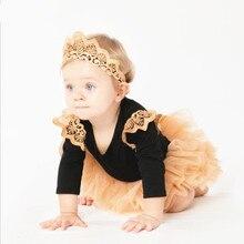 Новые милые наряды на день рождения костюм с юбкой для маленьких девочек комплекты одежды для младенцев комбинезон+ повязка на голову+ юбка-пачка