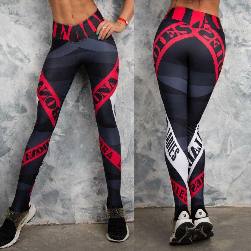 New High Waist Women   Leggings   Fitness Digital Printing Geometric Letter Workout Push Up   Leggings