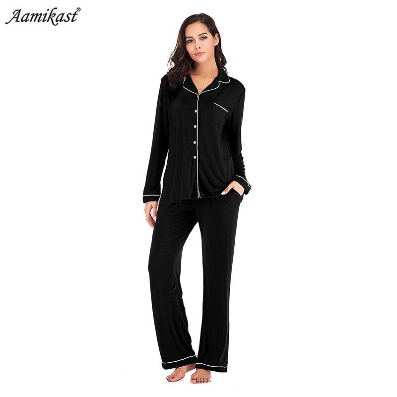 Aamikast   Pajama     Set   Women Long Sleeve Sleepwear Soft Knit Loungewear Notch Collar Pjs pijama mujer women pyjamas