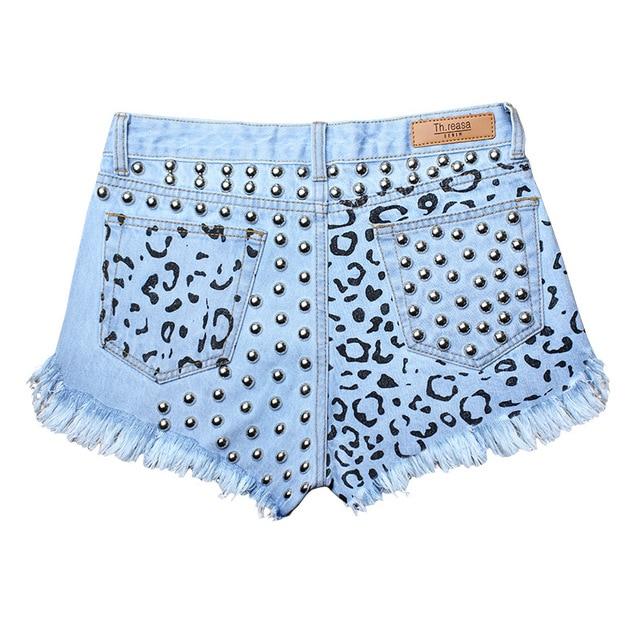 2016 Mujeres Del Verano Pantalones Cortos de Mezclilla Impreso Azul de Mezclilla con Remaches Jeans Gastados Ripped Shorts Destroyed Jeans de Moda Caliente SL032
