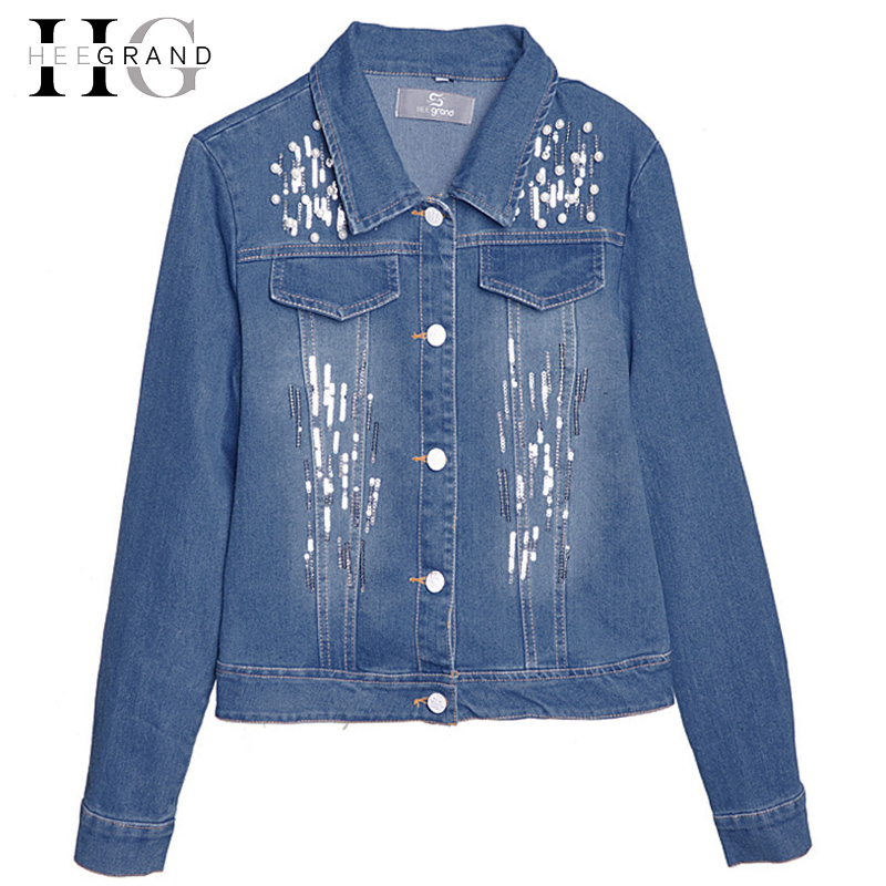 HEE GRAND High Street Fashion Jeans Jacket Women Hole Pearl Slim Denim Coat Mujer Beaded ...