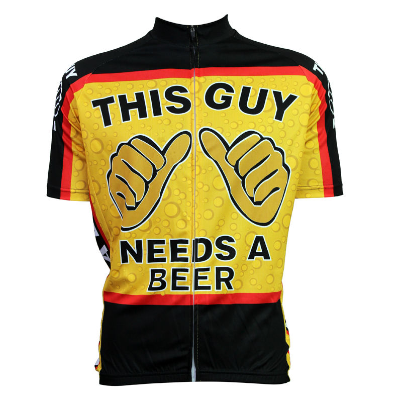 Alien SportsWear This Guy Needs Beer Pattern Cyklistika Oblečení Muži Léto Krátký rukáv Cyklistické dresy Velikost XS-5XL