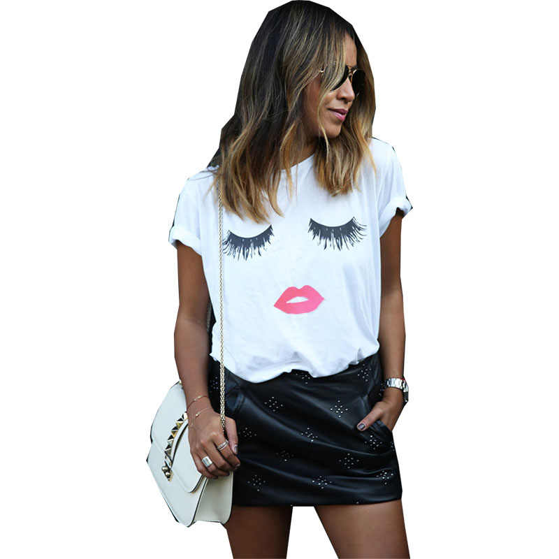 T 셔츠 여성 2019 새로운 패션 플러스 크기 품질 여름 스타일 속눈썹 빨간 립 인쇄 T-셔츠 여성 dropshipping vestidos YFF6220