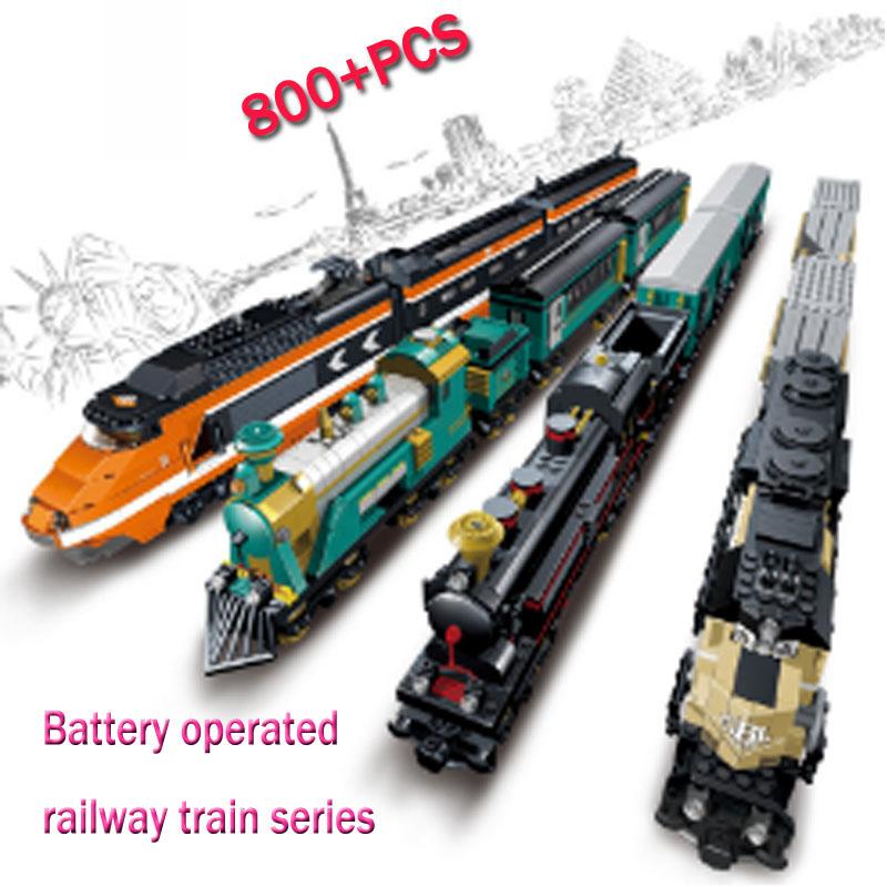 LWKO Battery Powered Maersk With Legoe Train Container Train Freight Train Building Blocks Educational Toys For Children Gift