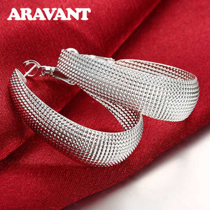 925 Silver Jewelry Flat U Web Hoop Earring For Women Fashion Wedding Party Christmas Top Quality Jewelry Gift