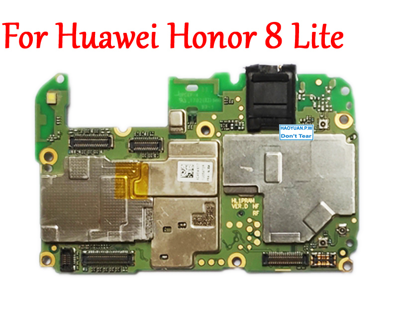 Tested Full Work Unlock Mobile Electronic Panel Motherboard Circuits Flex Cable For HUAWEI Honor 8 Lite PRA-AL00 MB Plate