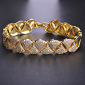 Luxury Bright Gold Plated Mujer Copper Bracelet Bangle Jewelry For Women CZ Rhinestone Exquisite Smooth Pulseira Wedding Bijoux