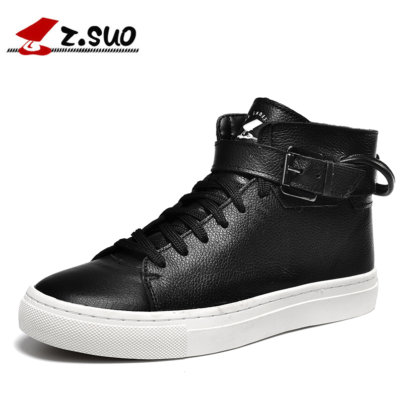 Z. Suo men 's shoes, leather buckles casual men's shoes, fashion high pure color for flat shoes with man, zs1609 simple men s casual shoes with criss cross and color block design