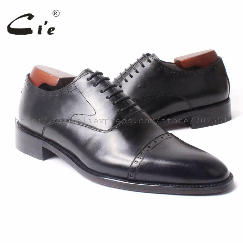 cie Free Shipping Custom Bespoke Handmade Men's Oxford Black Square Toe Cap-toe Lace-up Genuine Calf Leather Business shoe OX298 cie square toe lace up custom handmade mens leather shoe bespoke calf leather breathable men s oxford patina dark brown ox 02 11