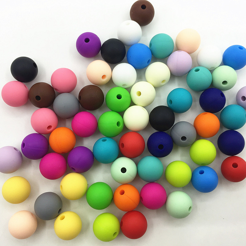 New 1000PCS lot 12MM round Loose Silicone Beads DIY for Teething Necklace silicone beads for baby