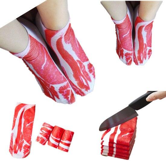 1 Pair New Fashion Creative Bacon Printed Happy Funny Pattern 3D Pork Meat Socks Casual Ankle Boat Sock Men Women Kids Low Cut