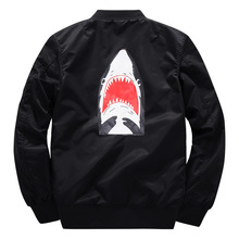 Ma1 Bomber thick Jacket 2018 winter jackets Pilot Outerwear Men Army Green Shark print Merch Flight Coat Streetwear printed
