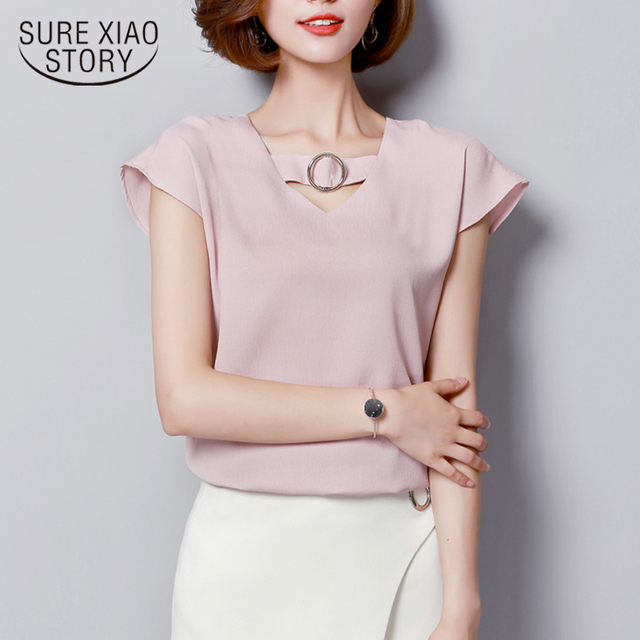 2018 new spring fashion short sleeved blouses solid plus size casual women tops white pink sweet style women clothing D544 30