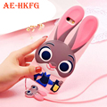 "3D Cartoon Judy case for Iphone 6 ""4.7/5.5 inch Crazy Animal City silicone phone bag with Lanyard cover for Iphone 6S/6S Plus"