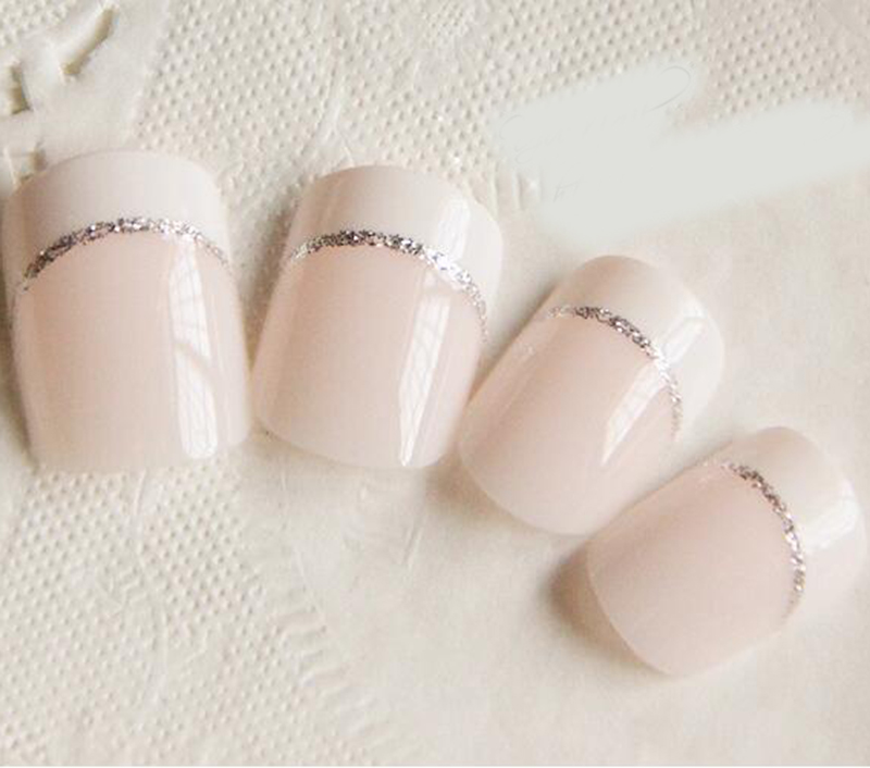 24pcs beauty light white short french fake nails full cover european simple manicure cold oval faux cheap office lighting