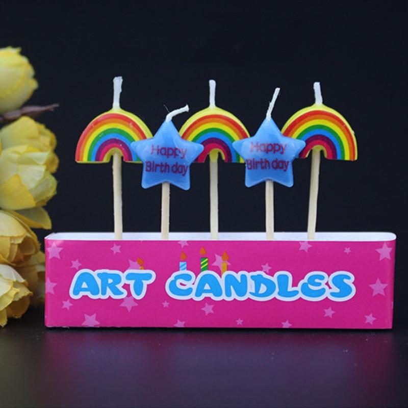 5Pcs//Set No Smoke Cake Candle Safe Flames Party Birthday Baking Supplies