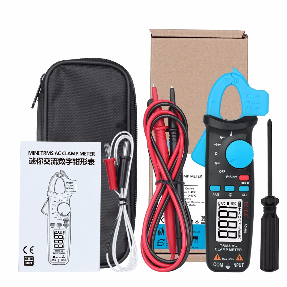 BSIDE ACM81 TRMS AC Clamp Meter 1mA Auto-Ranging Digital Multimeter 2000 Counts Voltage Current Diode Tester with Back Clip
