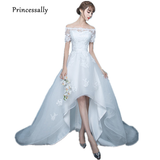 Vestido De Noiva Baru Putih Gaun Pengantin Tinggi Rendah Sexy Perahu leher  Lengan Pendek Renda Pengantin 9641bf8fa0ae