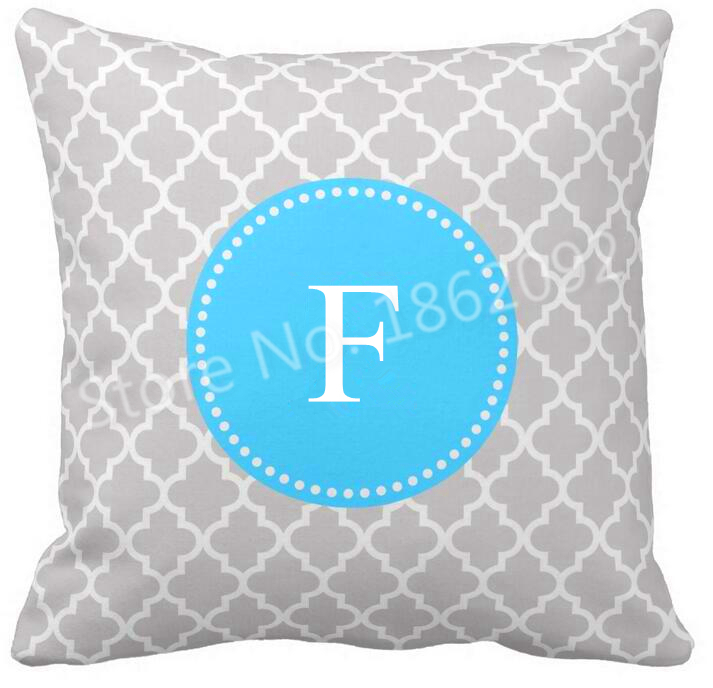 Grey Aqua Blue Moroccan Monogram Cushion Cover Personalised Initial Throw Pillow Case Custom ...