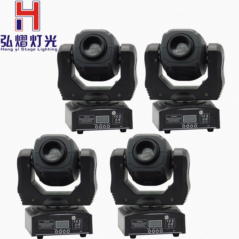 Hot Sell High Brightness 60W Spot Moving Head Light Stage Dj DMX512 60 Watt Led Mini Gobo Moving Heads 4pcs/lot