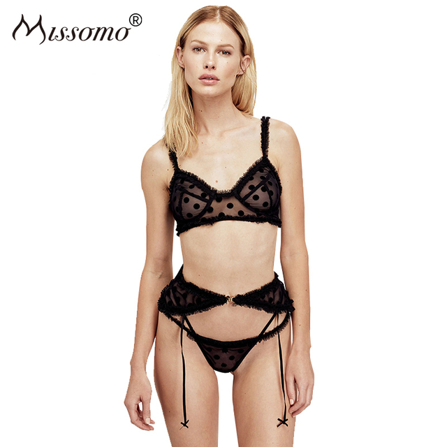 Missiom Underwear 2018 Women Sexy Lace Patcwork Bra And Garters 2 Pieces Set Lingerie Transparent See Through Sheer Aesthetic