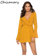 Chicanary Polka Dot Frill Detail Flare Sleeve Wrap Dress Women Ruffles Sleeve One-pieces Dresses