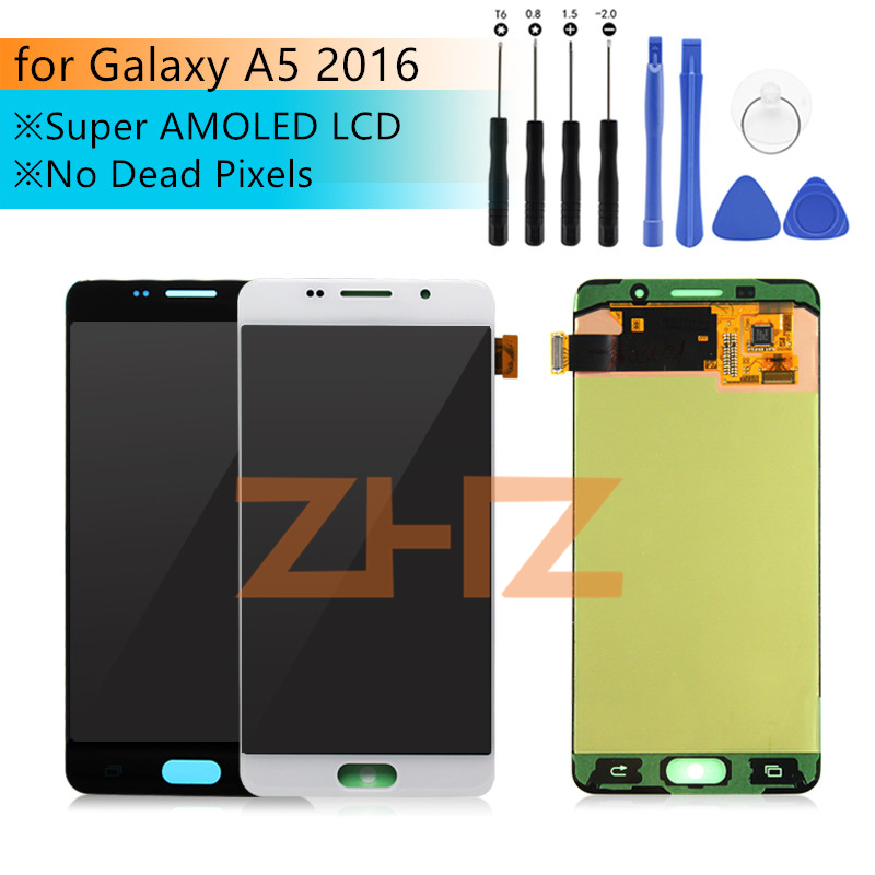 Test Super AMOLED For SAMSUNG GALAXY A5 2016 a510f Display Touch Screen Digitizer Assembly Replacement for