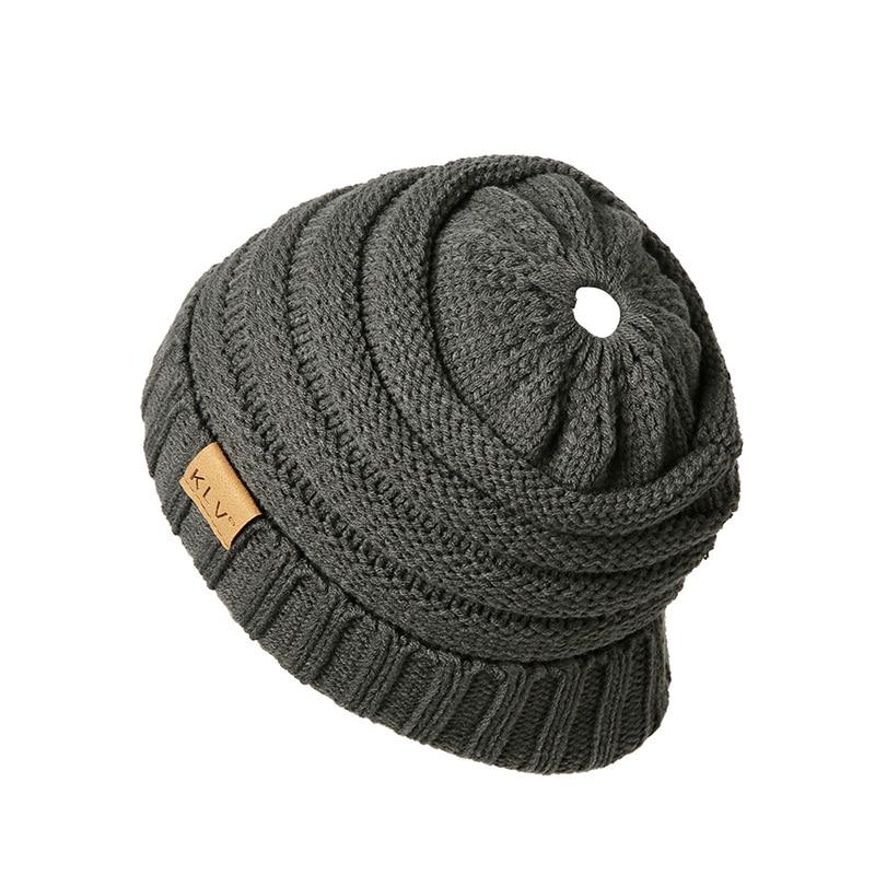 Solid Ponytail   beanie   knitted Winter Hat female Women Warm Bonnet   Skullies     beanies   Elastic Soft Hat Women's Winter Caps