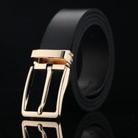 2018 Men Belt Black Gold Pin Buckle Genuine Leather belts for men brand Strap male fancy jeans cintos Waist Single Prong Belt